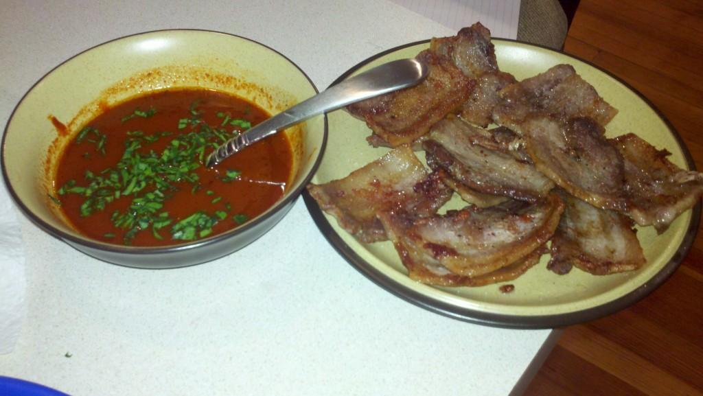 Pork belly, tofu, and gochukang hot sauce Korean recipe