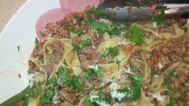 upclose of tuna bolognese (fresh tuna pasta sauce)