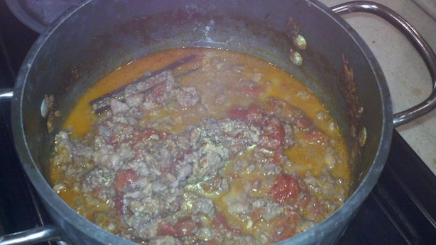 initial simmering of the tuna bolognese (fresh tuna pasta sauce)