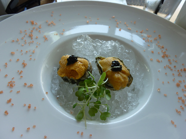 Oyster with uni (sea urchin) and caviar from eatingisfundamental.com