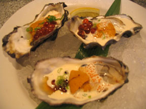 oysters, uni, salmon roe, and ponzu from forkandbottle.com