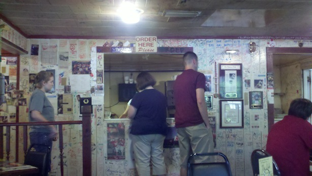 Inside Brick Pit, the ordering counter