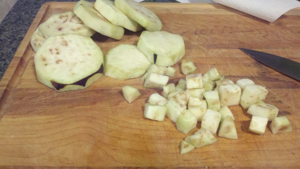 Dicing the sweated and drained eggplant