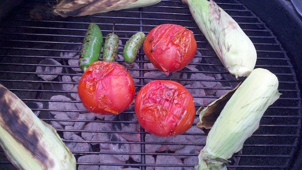 Grilled and fire-roasted tomato, jalapeno, corn salsa