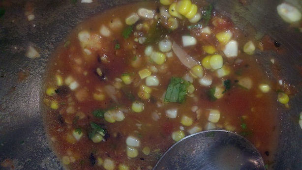 Grilled and fire-roasted tomato, jalapeno, and corn salsa