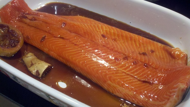 Covered steelhead trout with ginger soy sauce sauce