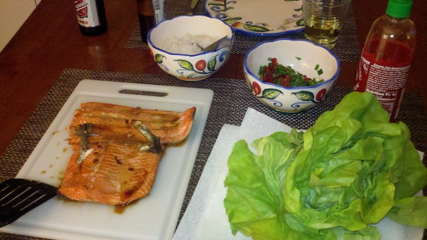 Steelhead Trout Lettuce Wrap Ingredients, Korean Style