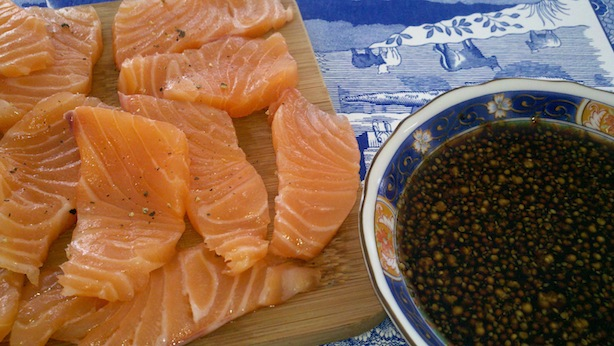 Salmon sashimi with grey poupon, balsamic vinegar, and soy sauce