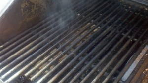 Wood Chip slot smoking away in propane gas grill