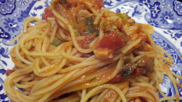 spaghetti with bottarga tomato sauce