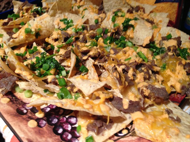 Korean bulgogi bbq nachos with kimchi sour cream