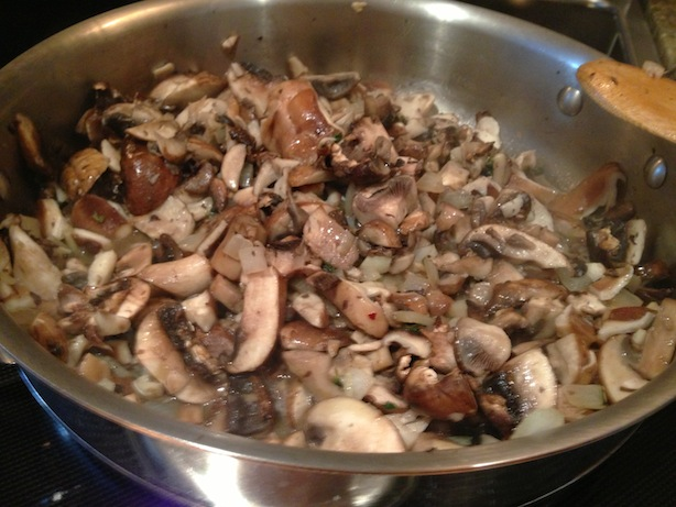 Mushrooms and white wine sauteing