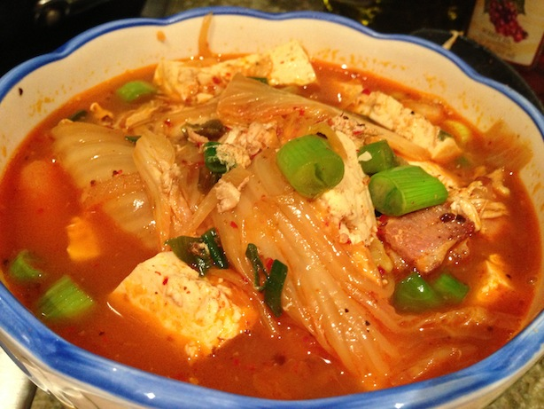 kimchi jjigae with tofu korean kimchi tofu soup add tofu and lower the ...