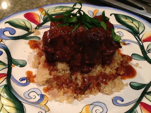 French-style classic red wine braised oxtail over couscous