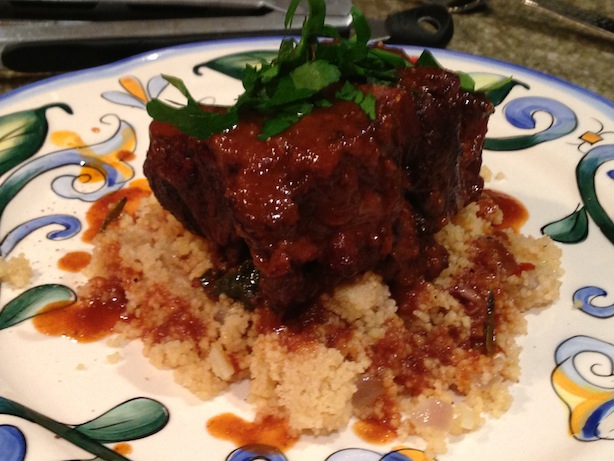 Red wine braised oxtail on couscous