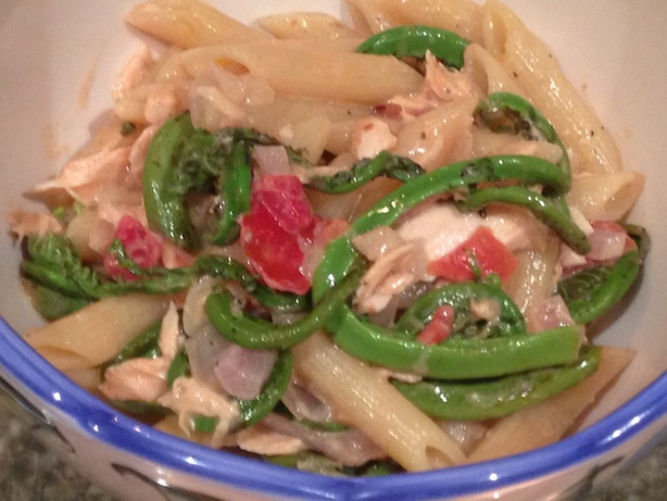 Penne with salmon, fiddlehead ferns