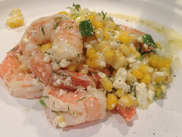Greek and Southern style corn and shrimp salad