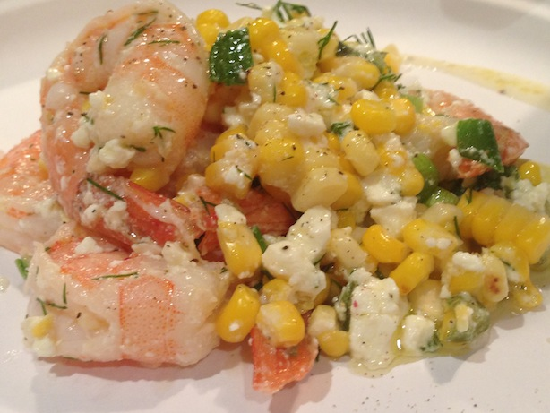 Grilled corn and shrimp cold salad