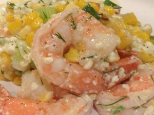 Summertime cold salad of shrimp and grilled corn
