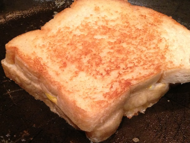 Sandwich - in pan, buttery close-up