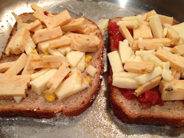 Sandwich - using cubed pieces of cheese