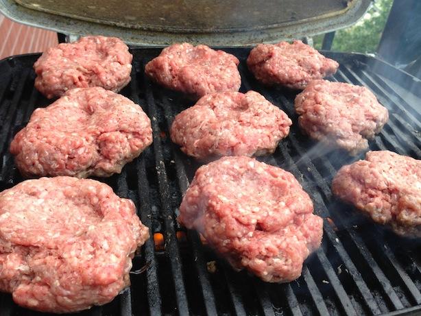 Grilling homemade hamburgers