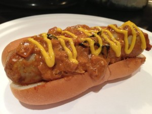 Currywurst, grilled bratwurst, homemade curry, bun