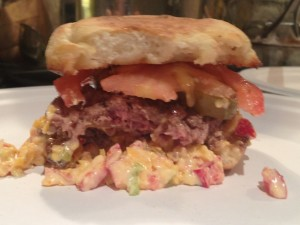 Southern burger with pimento cheese
