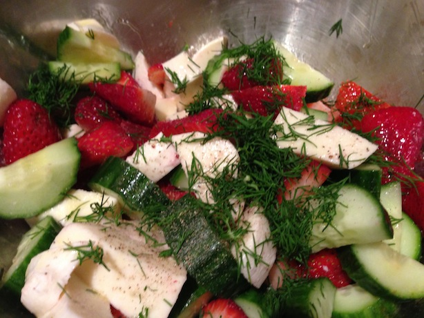 Strawberry, cucumber, mozzarella, and dill salad