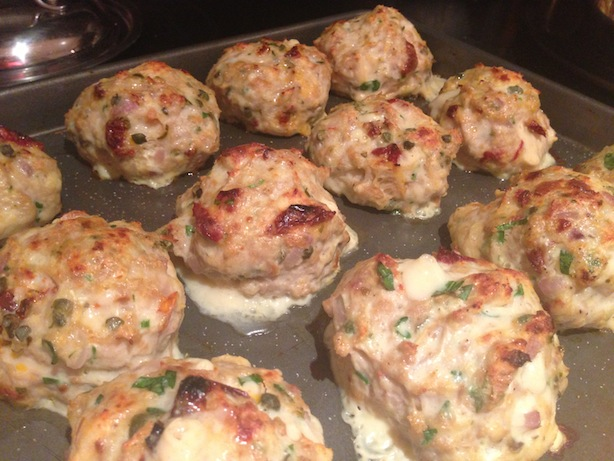 Chicken meatballs, cooked