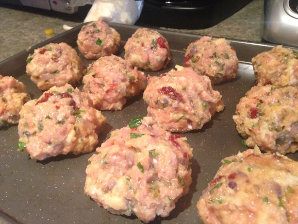 Chicken meatballs, pre cooking