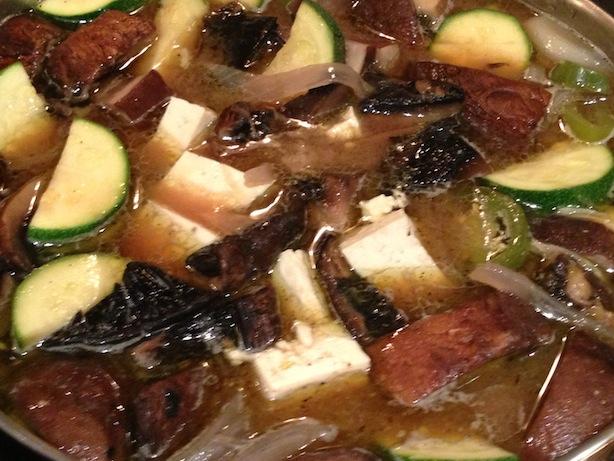 Grilled portobello mushroom doenjang jjigae