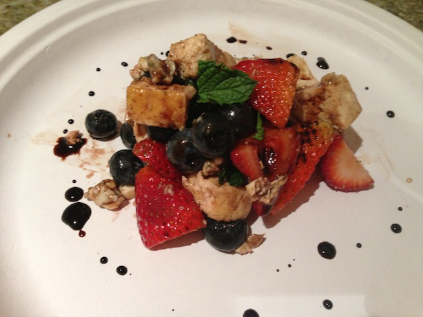 Fruit salad with tofu, blue cheese, and reduced balsamic glaze