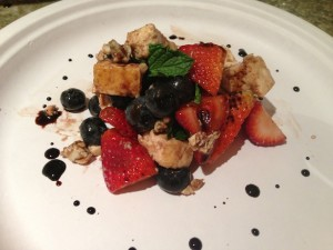 Strawberry, blueberry, tofu, blue cheese, balsamic glaze salad