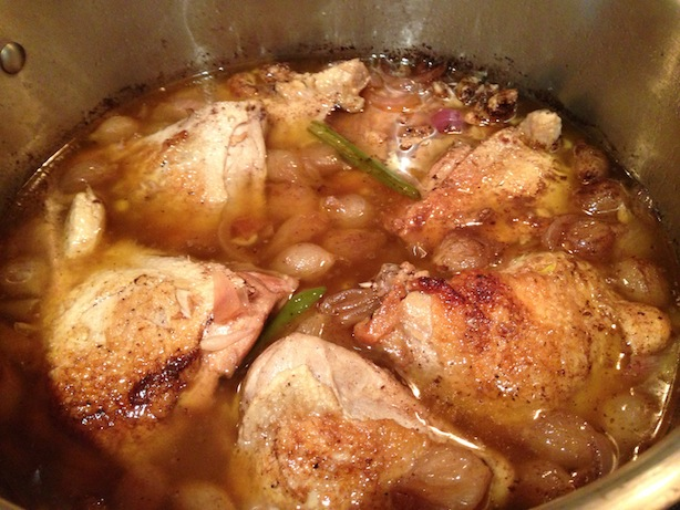 Cider Vinegar Braised Chicken Thighs & Legs With Onions And Raisins ...