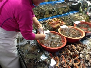 Buying live octopus at Seoul wholesale fish market