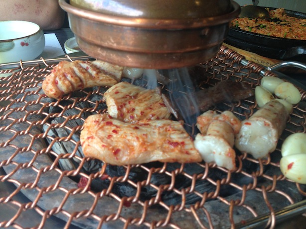 Gopchang, Obaltan, grilled cow intestines