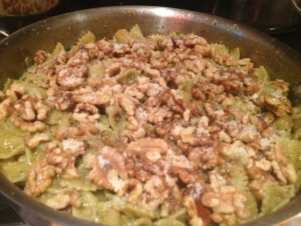 More walnuts on top of broccoli pesto