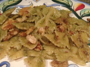Farfalle with broccoli pesto, anchovies, and walnuts