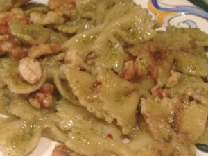Broccoli pesto farfalle with anchovies