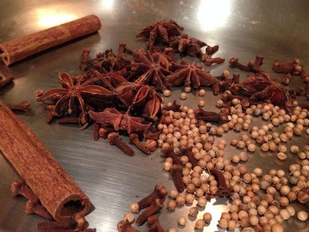Star anise, coriander seeds, cinnamon