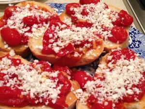 cherry tomato and ricotta salata crostini