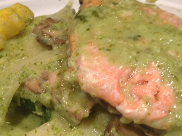 Salmon in Southeast Asian green curry