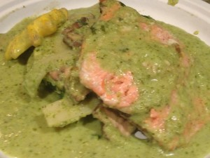 salmon in jalapeno and lime green curry
