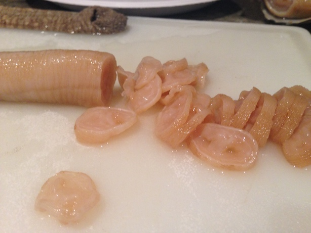 Geoduck sashimi slicing