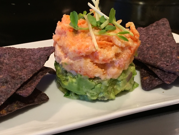 Guacamole with tobiko-shrimp salad