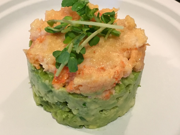 guacamole with asian shrimp salad