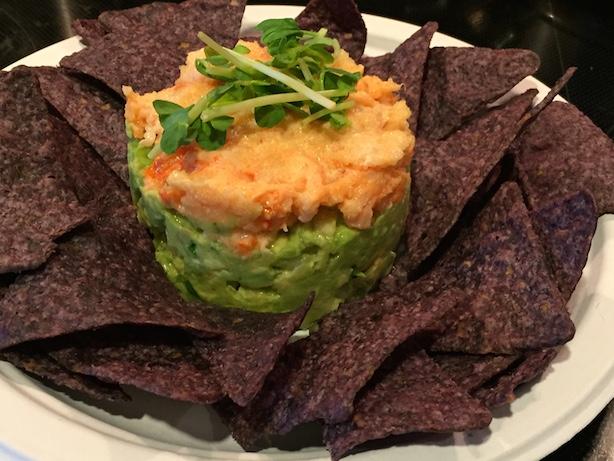 guacamole with tobiko shrimp