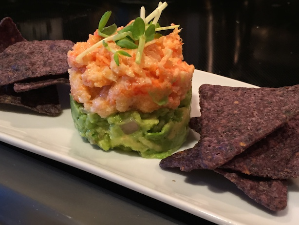 guacamole with tobiko shrimp asian salad