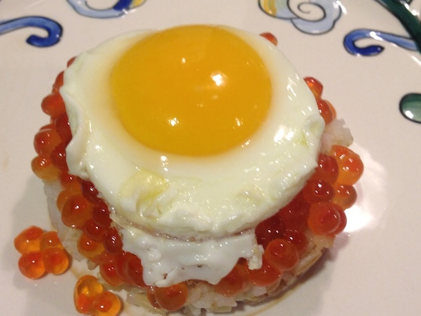Fried egg on ikura